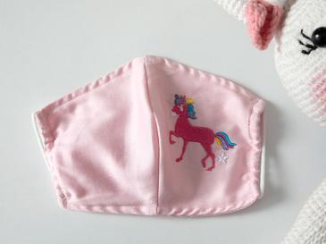 Mini Unicorn Pamuklu Çocuk Maske 4-12 Yaş Pembe