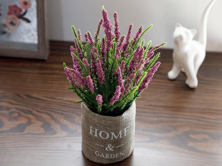 Lavender Seramik Vazolu Yapay Çıçek 17x17x23,5cm Lila