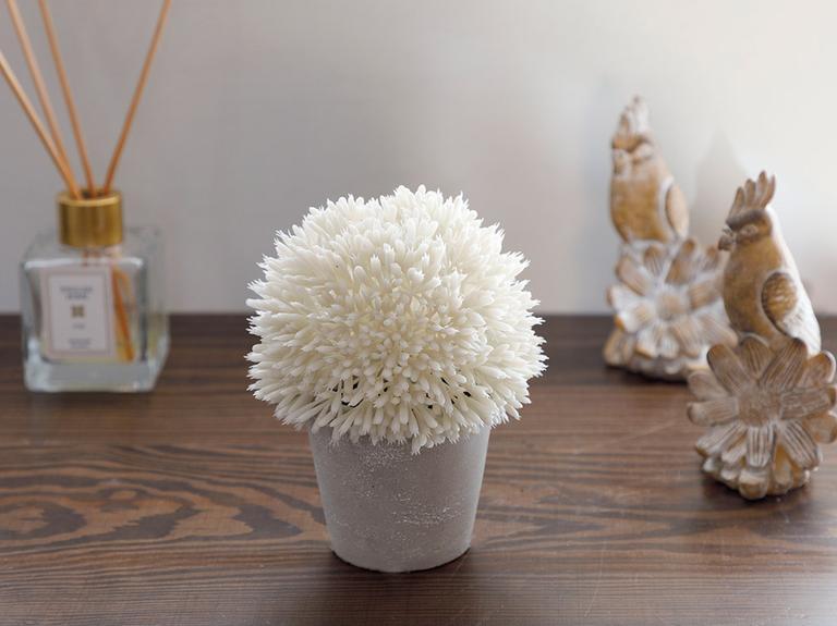 Flower Bunch Seramik Vazolu Yapay Çiçek 11x11x14 Cm Beyaz