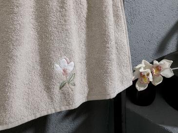 Magnolia Nakışlı Yüz Havlusu 50x80 Cm Açık Gri