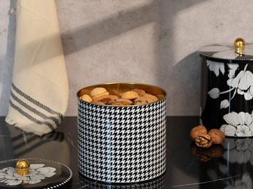 Denby Pied De Poule Metal Yuvarlak Saklama Kabı 17,5x15,5 Cm Siyah - Beyaz