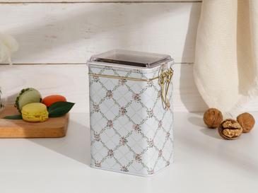 Rosalinda Metal Dikdörtgen Saklama Kabı 15,0x7,5x10,0 Cm Pembe - Beyaz