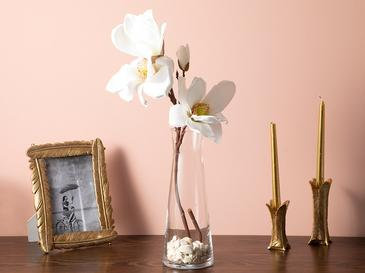 Aquarel Magnolia Plastik Tek Dal Yapay Çiçek 20x27x60 Cm Beyaz