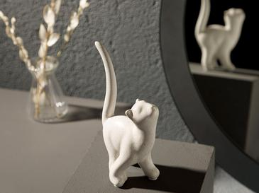 Docile Cat Stoneware Biblo 8x5,5x15 Cm Krem