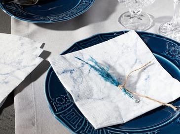 Marble Kağıt 20 Adet Kağıt Peçete 33x33 Cm Beyaz