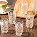 Natural Flower Cam 6'lı Kahve Yanı Su Bardağı 100 Ml Açık Krem