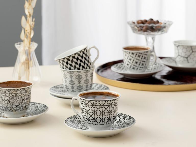 Carey Porselen 12 Parça Kahve Fincan Takımı 90 Ml Siyah