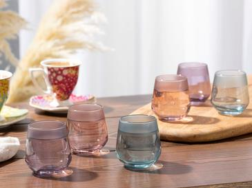 Bande Cam 6'lı Kahve Yanı Su Bardağı 115 Ml Renkli