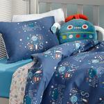 Happy Robots Pamuklu Bebe Nevresim Takımı 100x150 Cm İndigo