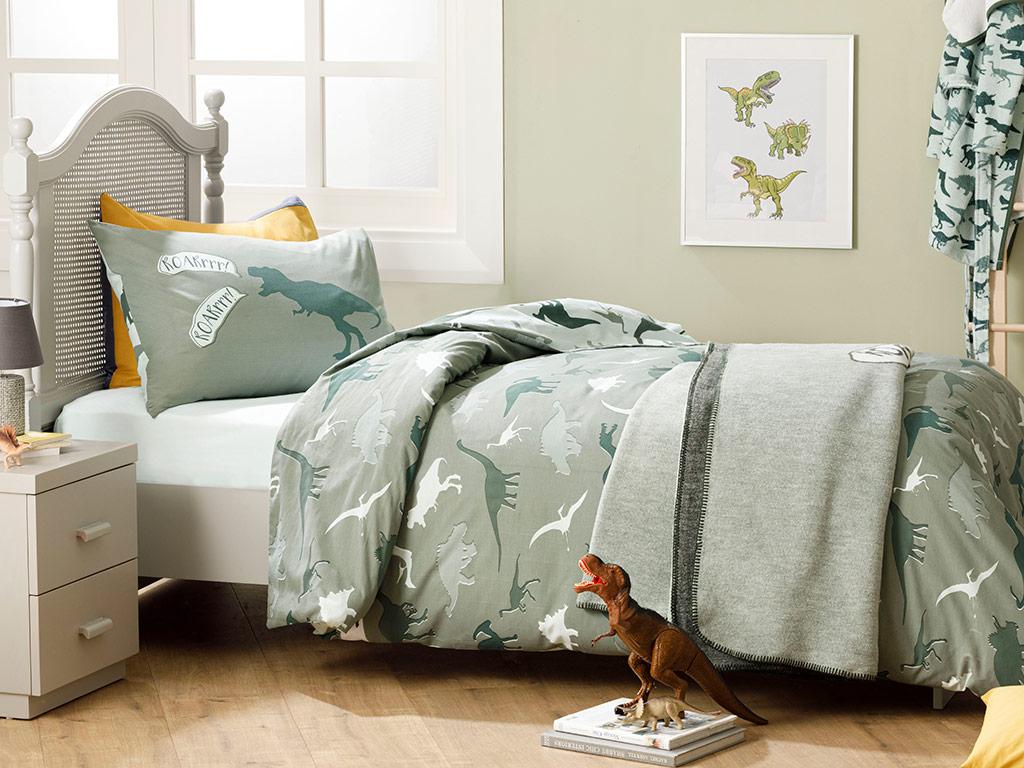 Dinosaurs Din bumbac Lenjerie De Pat 160x220 cm Verde 10029819001