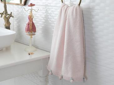 Mini Rose Kroşeli Yüz Havlusu 50x80 Cm Pudra Pembe