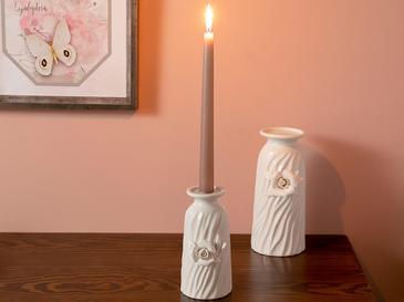Georgeous Rose Stoneware Mumluk 8x9x16 Cm Beyaz