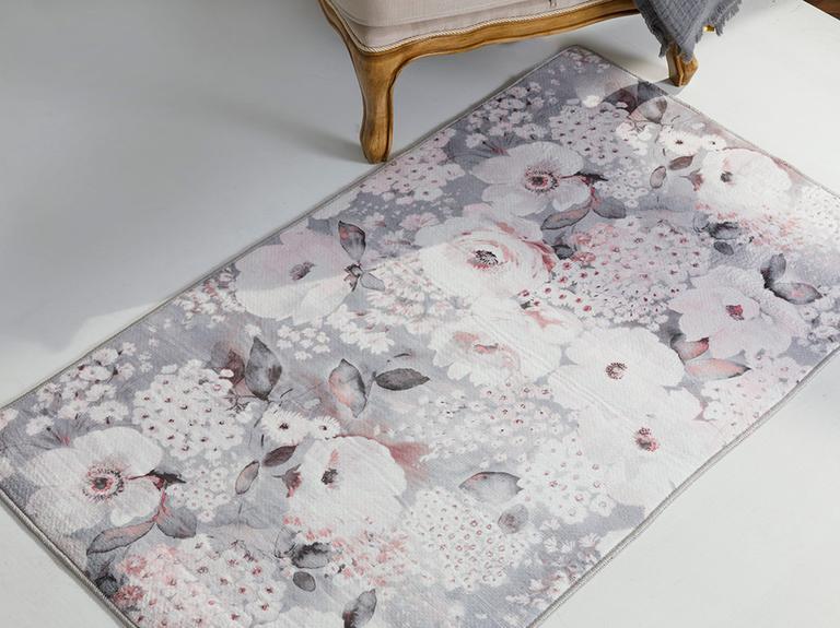 Fall Floral Polyester Kaydırmaz Taban Halı 80x250 Pembe - Gri