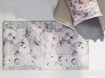 Fall Floral Polyester Kaydırmaz Taban Halı 80x140 Cm Pembe - Gri