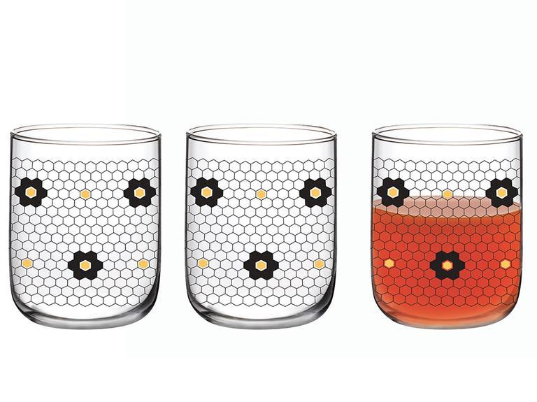 Denby Flowery Cam 3'lü Meşrubat Bardağı 270 Ml Siyah-gold