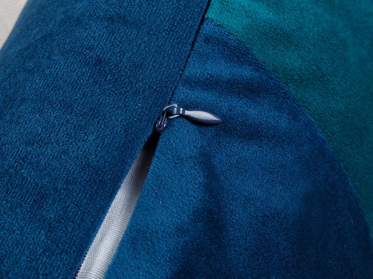 Patchwork Kadife Dolgulu Kırlent 35x55 Cm Mavi - Yeşil
