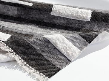 Oslo Nakışlı Nakış Detaylı Kilim 80x150 Cm Siyah - Gri