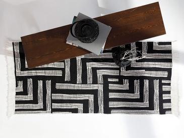 Monochrome Pamuklu Kilim 80x150 Cm Siyah - Beyaz