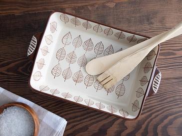 Leaves Porselen Dikdörtgen Fırın Kabı 27,5 Cm Gri