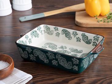 Boheme Porselen Dikdörtgen Fırın Kabı 27,5 Cm Koyu Yeşil