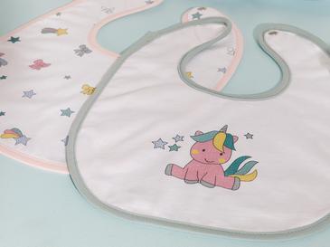 Mini Unicorn 2'li Bebe Mama Önlüğü Pembe