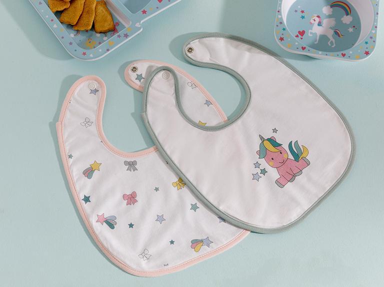 Mini Unicorn 2'li Bebek Mama Önlüğü Pembe
