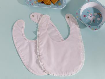 Frill 2'li Bebe Mama Önlüğü Pembe