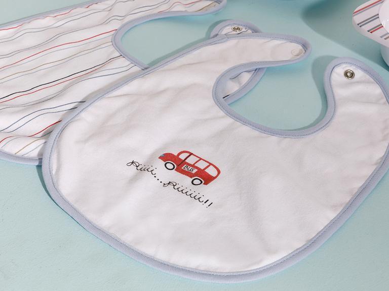 Mini Cars 2'li Bebek Mama Önlüğü Mavi