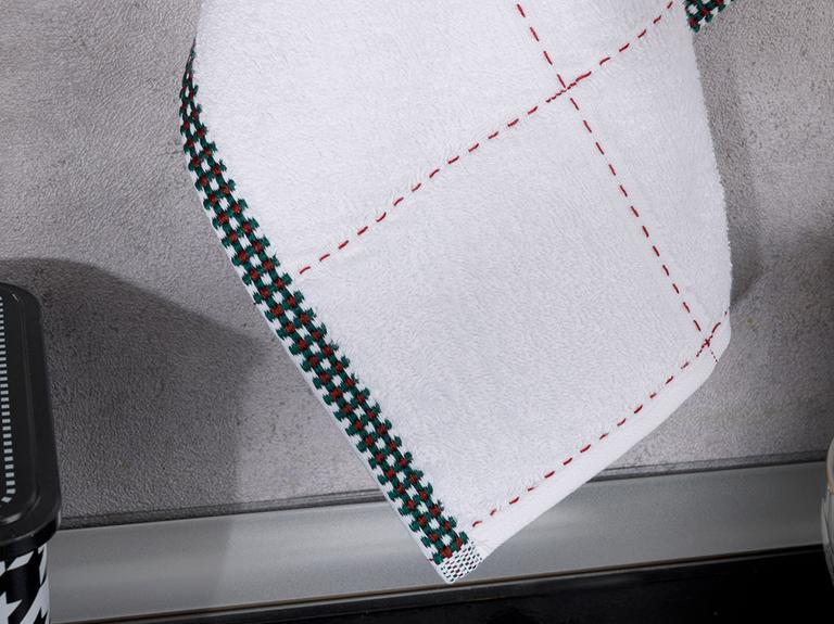 Edaline Pamuk Kurulama Bezi 30x45 Cm Bordo-yeşil