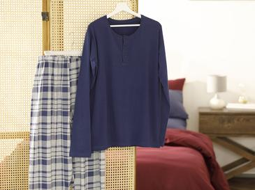 Navy Checked Pamuk Pijama Takımı M-l Mavi