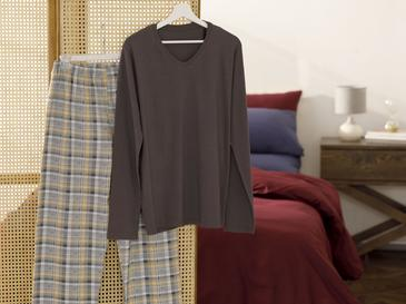 Pastel Check Pamuk Pijama Takımı L-xl Kahverengi