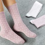 Colourful Pamuk Kadın Çorap Beyaz - Pembe