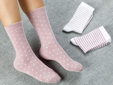 Colourful Pamuk Kadın Çorap Standart Beyaz - Pembe