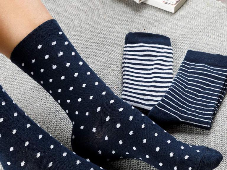 Colourful Pamuk Kadın Çorap Beyaz - Lacivert
