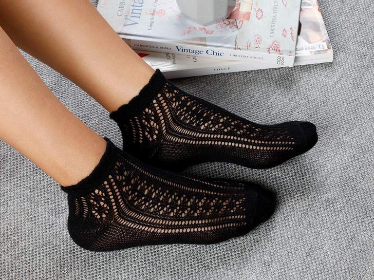 Fishnet Pamuk Kadın Çorap Siyah