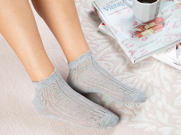 Fishnet Pamuk Kadın Çorap Standart Gri