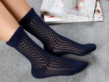 Fishnet Long Pamuk Kadın Çorap Standart Lacivert