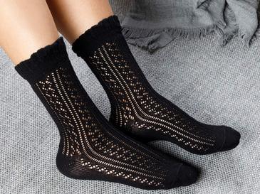 Fishnet Long Pamuk Kadın Çorap Standart Siyah