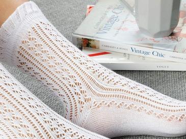 Fishnet Long Pamuk Kadın Çorap Standart Beyaz