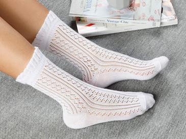 Fishnet Long Pamuk Kadın Çorap Beyaz