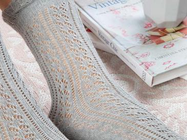 Fishnet Long Pamuk Kadın Çorap Gri
