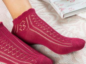 Fishnet Pamuk Kadın Çorap Standart Bordo