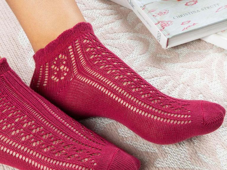 Fishnet Pamuk Kadın Çorap Bordo