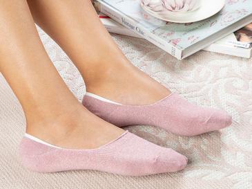 Purl Pamuk Kadın Babet Çorap Pembe