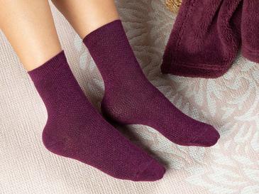Purler Pamuk Kadın Çorap Standart Mor