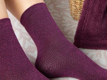 Purler Pamuk Kadın Çorap Mor