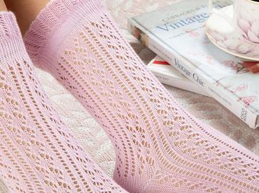 Fishnet Long Pamuk Kadın Çorap Standart Pudra Pembe