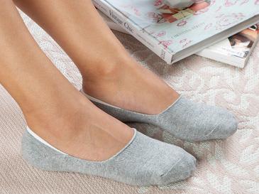 Purl Pamuk Kadın Çorap Gri