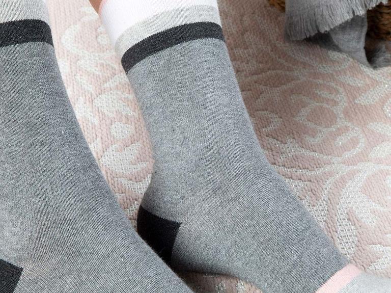Linear Pamuk Kadın Çorap Gri