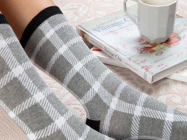 Squared Pamuk Kadın Çorap Standart Gri